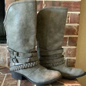 Grey Mossimo Riding Boots with straps